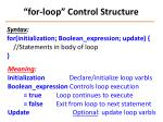 for loop control structure
