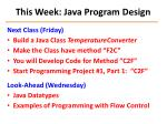 this week java program design