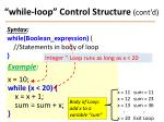 while loop control structure cont d