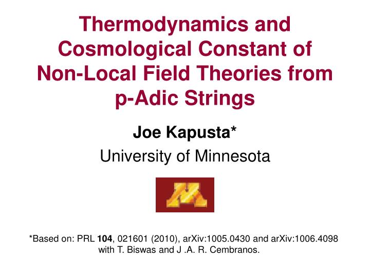 thermodynamics and cosmological constant of non local field theories from p adic strings n.