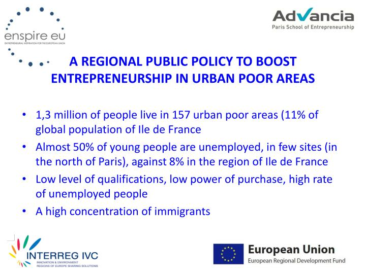 a regional public policy to boost entrepreneurship in urban poor areas n.