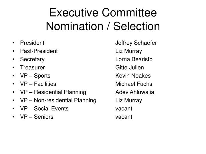 Executive committee nomination selection