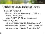 estimating crash reduction factors