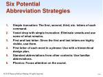 six potential abbreviation strategies