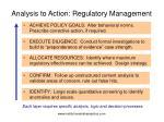 analysis to action regulatory management
