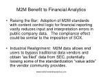 m2m benefit to financial analytics