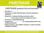 fairtrade protects the environment