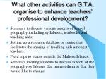 what other activities can g t a organise to enhance teachers professional development