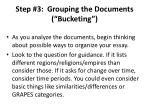 step 3 grouping the documents bucketing