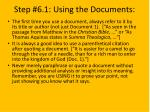 step 6 1 using the documents