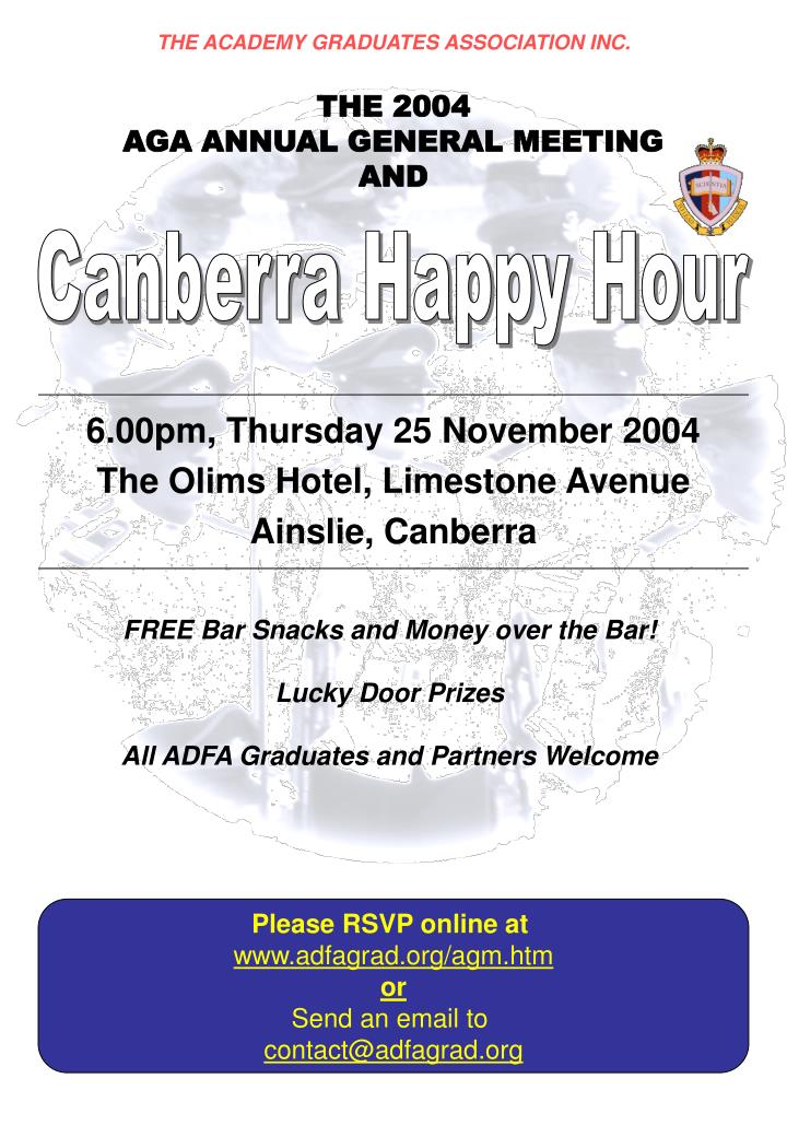 6 00pm thursday 25 november 2004 the olims hotel limestone avenue ainslie canberra n.
