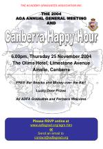 6 00pm thursday 25 november 2004 the olims hotel limestone avenue ainslie canberra