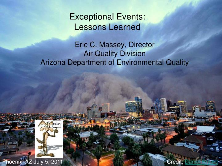 exceptional events lessons learned n.