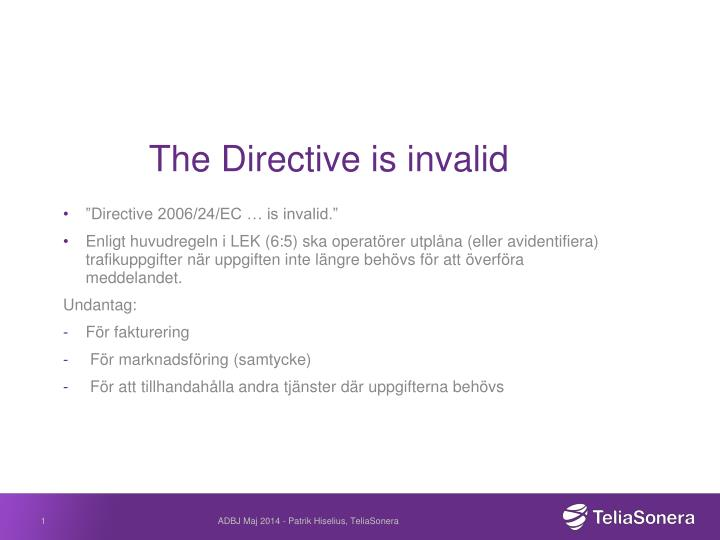 the directive is invalid n.
