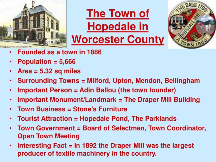 the town of hopedale in worcester county n.