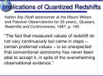 implications of quantized redshifts1