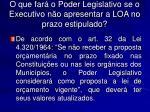 o que far o poder legislativo se o executivo n o apresentar a loa no prazo estipulado
