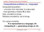 computational problems vs languages