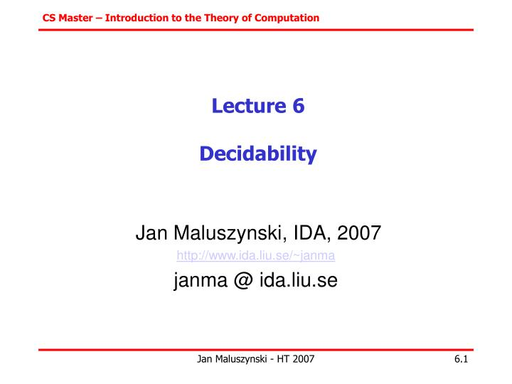 lecture 6 decidability n.