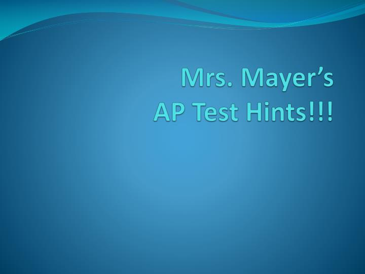 mrs mayer s ap test hints n.