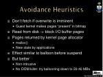 avoidance heuristics