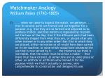 watchmaker analogy william paley 1743 1805