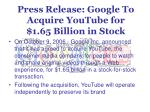 press release google to acquire youtube for 1 65 billion in stock