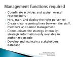 management functions required