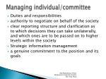 managing individual committee
