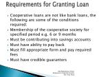 requirements for granting loan