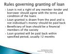 rules governing granting of loan