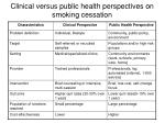 clinical versus public health perspectives on smoking cessation