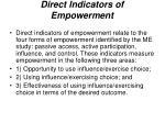 direct indicators of empowerment