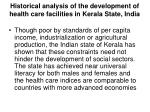 historical analysis of the development of health care facilities in kerala state india