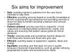 six aims for improvement