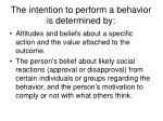 the intention to perform a behavior is determined by