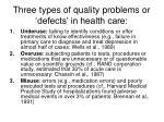 three types of quality problems or defects in health care