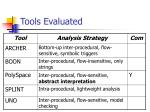 tools evaluated
