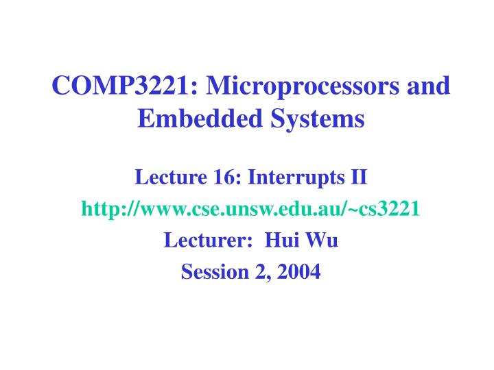 comp3221 microprocessors and embedded systems n.
