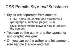 css permits style and substance