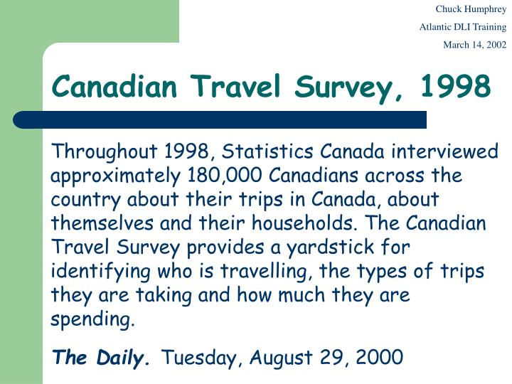 canadian travel survey 1998 n.