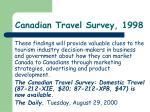 canadian travel survey 19981