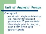unit of analysis person