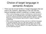choice of target language in semantic analysis