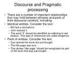 discourse and pragmatic processing
