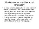 what grammar specifies about language