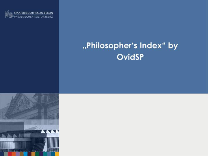 philosopher s index by ovidsp n.