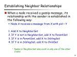 establishing neighbor relationships