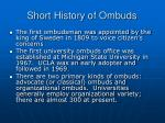 short history of ombuds