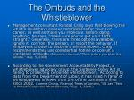 the ombuds and the whistleblower
